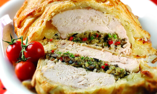 Boned Turkey Breast En Croute with Mushroom & Pepper Stuffing