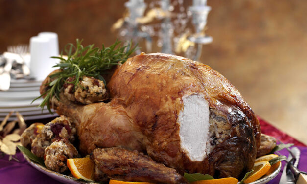 Soy & Apricot Glazed Turkey with Cranberry, Bacon & Pecan Stuffing