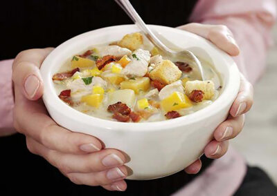 Hearty Leftover Turkey Broth with Bacon Croutons