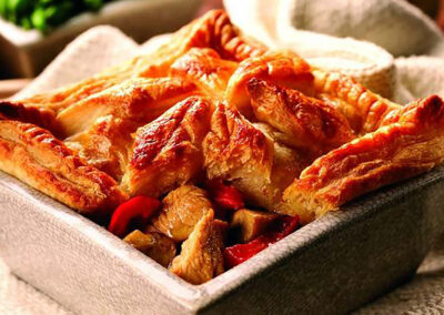 Leftover Turkey, Mushroom & Red Pepper Pie
