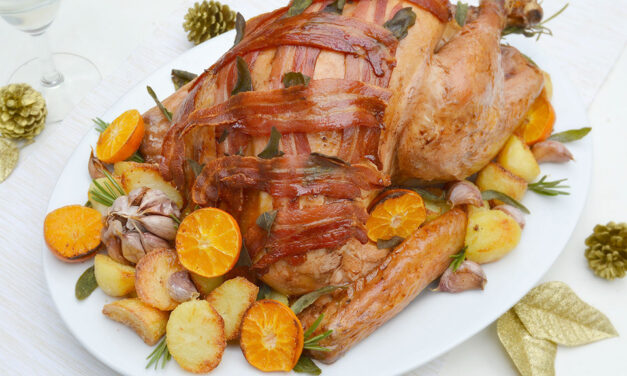 Bacon-topped Roast Turkey with Clementine, Sage & Garlic Butter