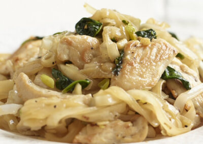Turkey Noodle Salad with Ginger, Spring Onion & Spinach