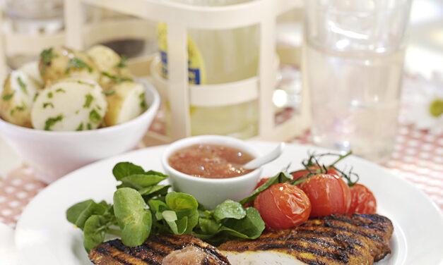 BBQ Turkey Breast with Spicy Rhubarb Glaze
