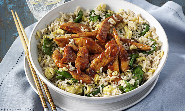 Quick Turkey Stir Fry with Egg Fried Spinach & Rice