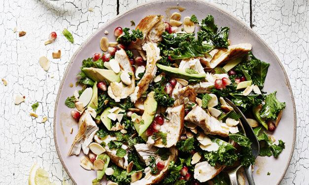 Shredded Turkey Salad with Fresh Mint, Miso Kale, Flaked Almonds, Avocado and Pomegranate