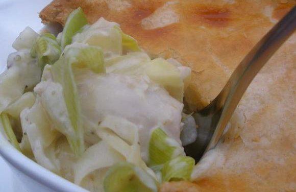 Turkey, Lemon & Leek Pie with Roasted Pumpkin
