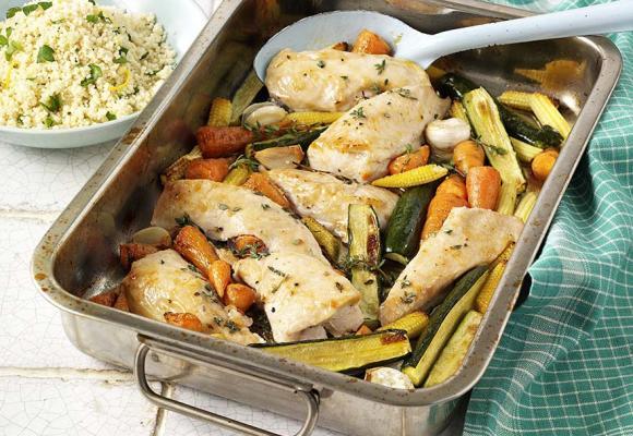 Turkey & Spring Vegetable Traybake with Lemon Couscous