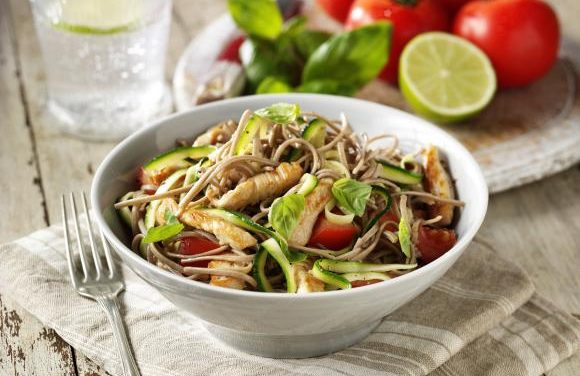 Soba Noodles with Courgettes, Lime & Sauteed Turkey