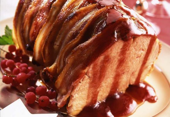 Bacon topped British turkey