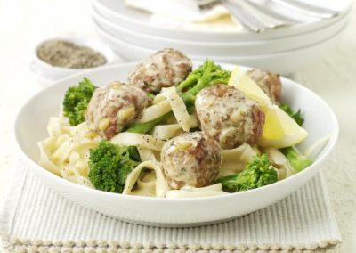 Lemon Turkey Meatballs with Broccoli & Noodles