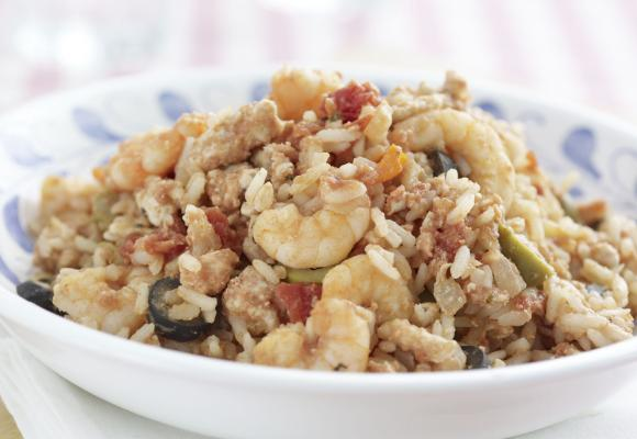 Turkey & Prawns Braised with Rice, Oregano & Cheddar Cheese