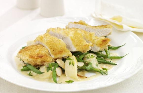 Pan Fried Turkey Steaks with Cider, Apple & Flaked Almond