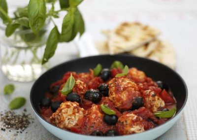 Phil Vickery's Turkey Polpettini with Tomatoes, Onions & Black Olives